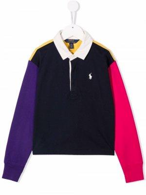 Рубашка поло в стиле колор-блок Ralph Lauren Kids. Цвет: синий