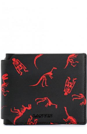 Кожаное портмоне с отделениями для кредитных карт Lanvin. Цвет: черный