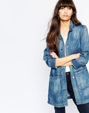 Удлиненная джинсовая куртка Jane Selected. Цвет: синий