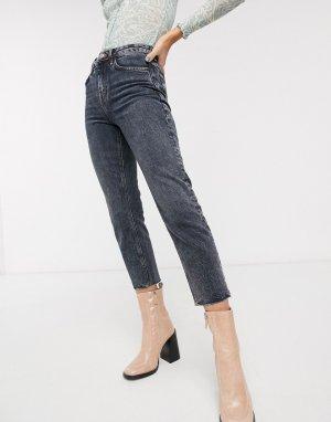 Темно-серые прямые джинсы с необработанным краем -Серый Topshop
