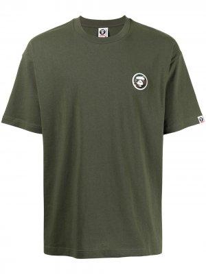 Футболка с логотипом AAPE BY *A BATHING APE®. Цвет: зеленый