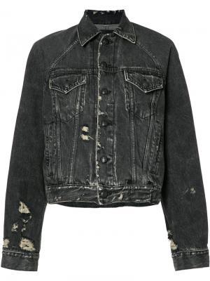 Джинсовая куртка свободного кроя R13. Цвет: чёрный