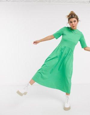 Зеленое трикотажное платье-трапеция миди -Зеленый Monki