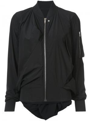 Куртка-бомбер с драпировками Rick Owens. Цвет: черный