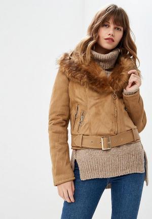 Куртка кожаная Z-Design. Цвет: коричневый