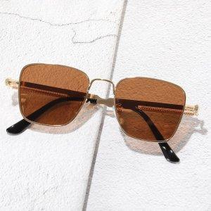 Мужские солнцезащитные очки с тонированными линзами SHEIN. Цвет: коричневые