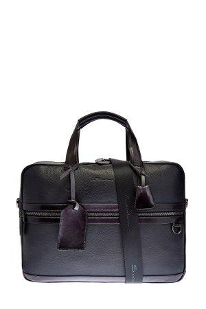 Кожаная сумка с карманом для бумаг А4 и съемным плечевым ремнем SANTONI. Цвет: черный