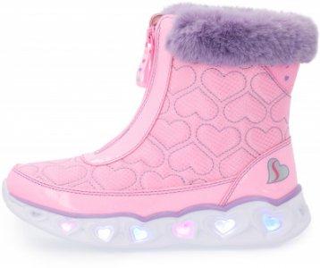 Сапоги утепленные для девочек Heart Lights, размер 27 Skechers. Цвет: розовый