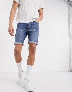 Голубые джинсовые шорты скинни -Синий New Look