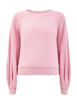 Пуловер из плотного хлопка с объемными рукавами KARL LAGERFELD. Цвет: розовый