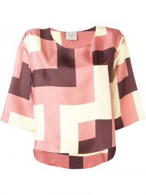 Блузка с геометричным принтом Alysi. Цвет: розовый