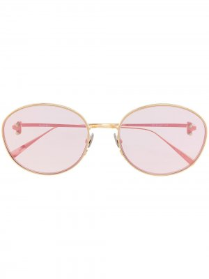 Солнцезащитные очки в овальной оправе Doublet. Цвет: розовый