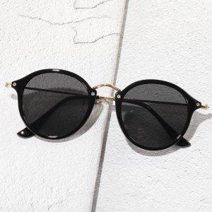 Мужские солнцезащитные очки в геометрической оправе SHEIN. Цвет: чёрный
