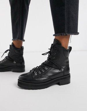Черные кожаные походные ботинки -Черный цвет Bronx