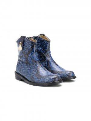 Ковбойские ботинки с тиснением под змеиную кожу Monnalisa. Цвет: синий