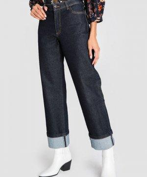 Прямые широкие джинсы с подворотами O`Stin. Цвет: темно-синий