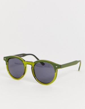 Зеленые круглые солнцезащитные очки AJ Morgan. Цвет: зеленый