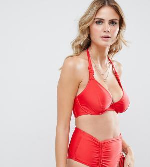 Эксклюзивный красный бикини-топ на косточках для большой груди с халтером и сборками Wolf & Whistle