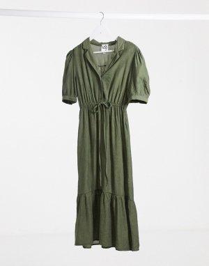 Летнее платье макси цвета хаки -Зеленый Lola May
