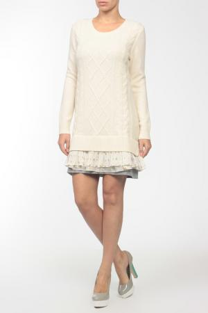 Платье вязаное Clu. Цвет: бежевый