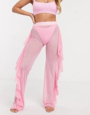 Розовые сетчатые пляжные брюки с оборками -Розовый ASOS DESIGN