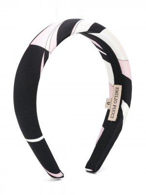 Ободок с графичным принтом Emilio Pucci Junior. Цвет: черный