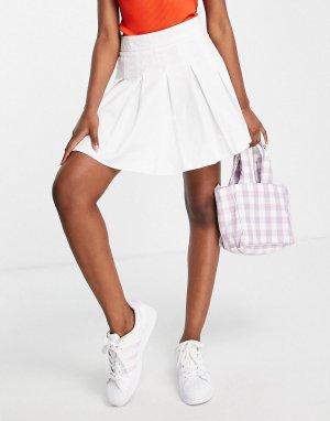 Плиссированная теннисная мини-юбка белого цвета -Белый Lola May