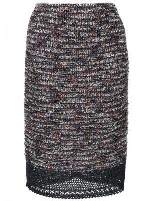 Твидовая юбка COOHEM. Цвет: разноцветный