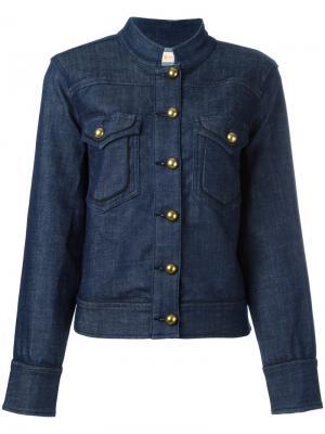Джинсовая куртка с воротником-стойкой Tory Burch. Цвет: синий