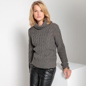 Пуловер с отворачивающимся воротником и узором косы спереди из плотного трикотажа ANNE WEYBURN. Цвет: серый меланж,темно-бежевый