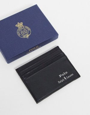 Черная кожаная визитница с серебристым логотипом -Черный цвет Polo Ralph Lauren