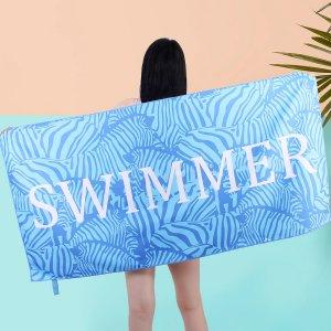 Многофункциональное полотенце с текстовым принтом SHEIN. Цвет: синий