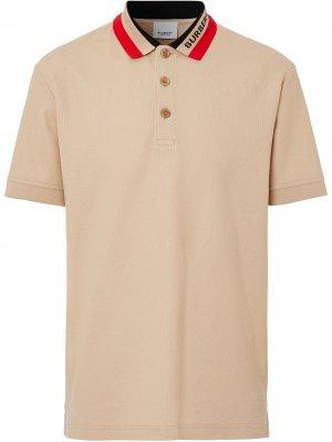 Рубашка поло с логотипом на воротнике Burberry. Цвет: коричневый