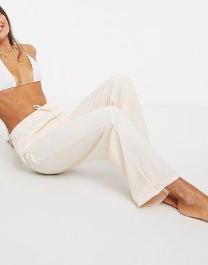 Светло-бежевые пляжные брюки с затягивающимся шнурком -Кремовый New Girl Order