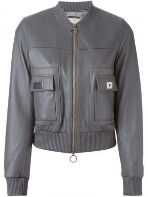 Кожаная куртка-бомбер Michael Kors. Цвет: серый