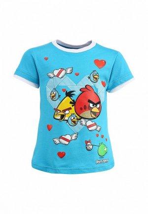 Футболка для девочки ANGRY BIRDS AN515EGCEN26. Цвет: голубой