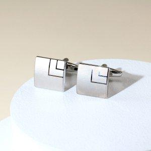 Геометрический принт Запонки и зажимы для галстука SHEIN. Цвет: серебряные