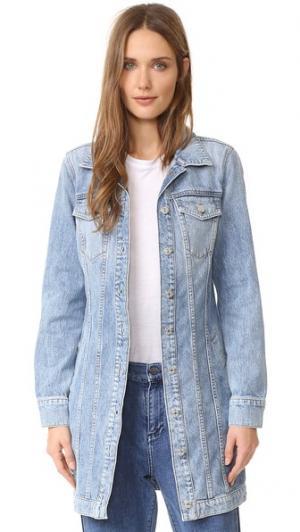 Длинная классическая джинсовая куртка 7 For All Mankind. Цвет: светло-голубой брайтон
