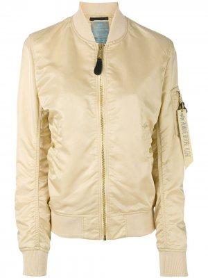 Куртка-бомбер с карманом на рукаве Alpha Industries. Цвет: нейтральные цвета