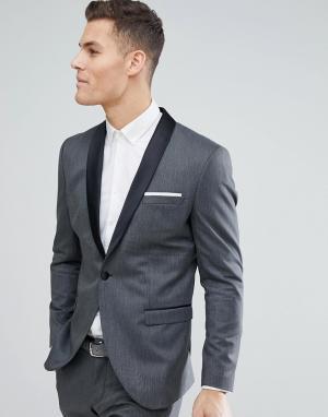 Пиджак-смокинг узкого кроя Selected Homme. Цвет: черный