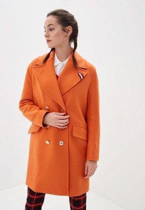 Пальто Tommy Hilfiger. Цвет: оранжевый