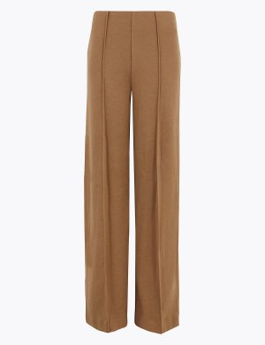 Текстурированные широкие брюки из джерси M&S Collection. Цвет: дюны