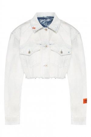 Укороченная джинсовая куртка Heron Preston. Цвет: белый