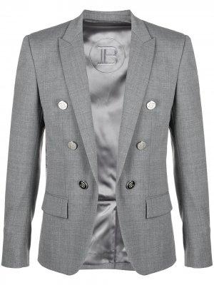 Двубортный пиджак Balmain. Цвет: серый