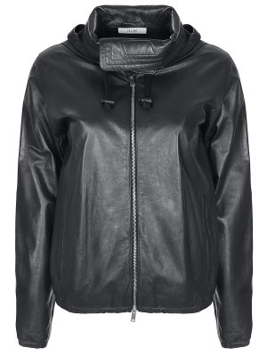 Куртка кожаная с капюшоном CELINE. Цвет: черный