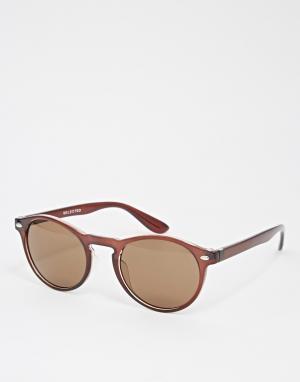 Солнцезащитные очки в круглой оправе Selected Key Homme. Цвет: коричневый