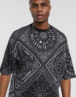 Свободная футболка со сплошным банданным принтом и надписями -Черный ASOS DESIGN