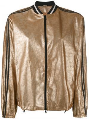 Металлизированная куртка-бомбер Brunello Cucinelli. Цвет: жёлтый и оранжевый