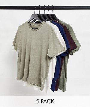Набор из пяти разноцветных футболок органического хлопка -Многоцветный Burton Menswear