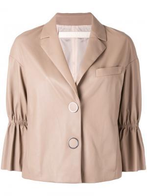 Укороченная кожаная куртка Drome. Цвет: телесный